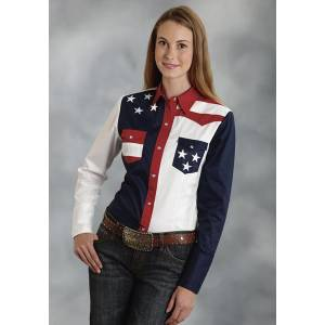 Roper Ladies Americana Colorblock Pieced Long Sleeve Snap Shirt