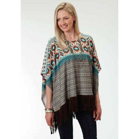Roper Ladies Aztec Border Print Poncho