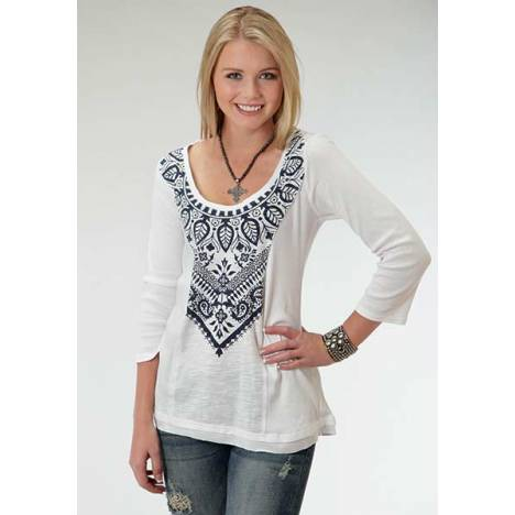 Roper Ladies Blue Gypsy Paisley Medallion Tunic