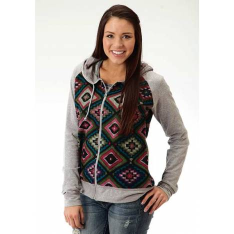 Roper Ladies Brushed Aztec French Terry Hoodie