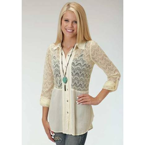 Roper Ladies Crepe Allover Lace Button Shirt