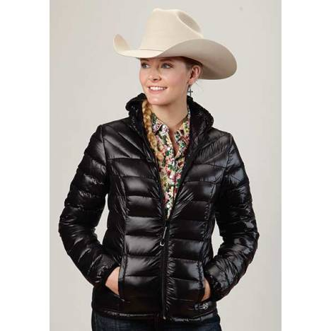 Roper Ladies Crushable Parachute Quilted Hooded Jacket - Black