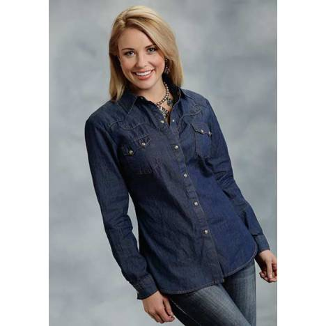 Roper Ladies Denim Top Stitch Long Sleeve Shirt