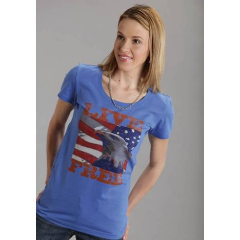 Roper Ladies Distressed Vintage Look Live Free T-Shirt