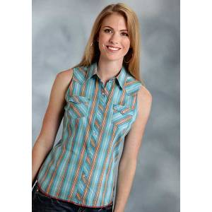 Roper Ladies Dobby Plaid Sleeveless Snap Shirt