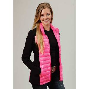 Roper Ladies Down Parachute With Durable Softshell Sleeve Jacket - Pink