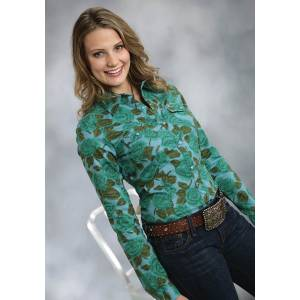 Roper Ladies Emerald Forest Floral Print Shirt