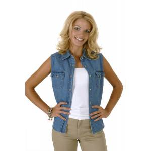 Roper Ladies Enzyme Wash Sleeveless Denim Shirt
