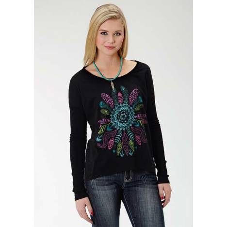 Roper Ladies Feather Screen Print Slouchy T-Shirt