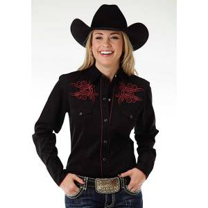 Roper Ladies Guitar Note Long Sleeve Snap Shirt