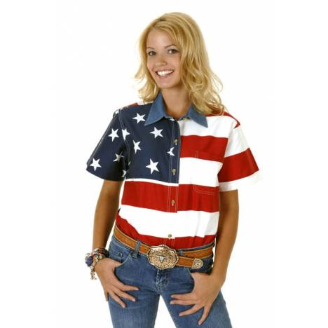 Roper Ladies Patriotic Stars And Stripes Short Sleeve Shirt