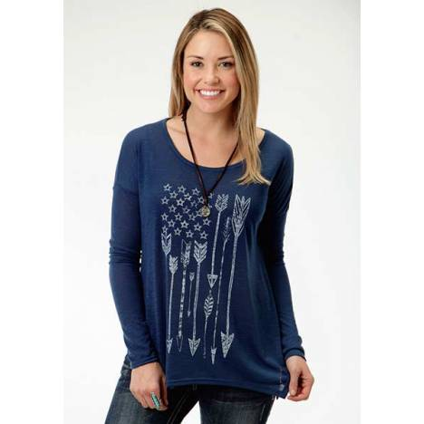 Roper Ladies Plus Size Fun Arrow Print Slouchy T-Shirt
