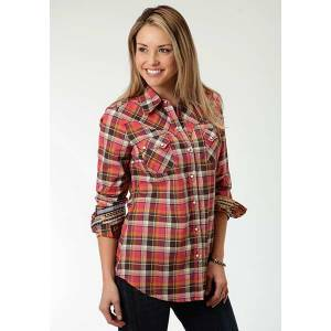 Roper Ladies Plus Size Mohave Plaid Earthtone Long Sleeve Snap Shirt