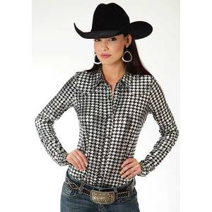 Roper Ladies Plus Size Shiny Houndstooth Snap Shirt