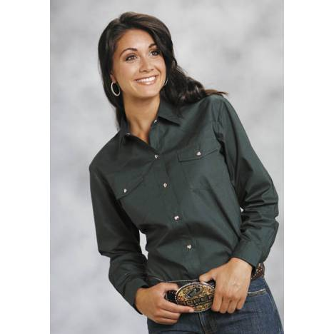 Roper Ladies Poplin Long Sleeve Variegated Snap Shirt - Green