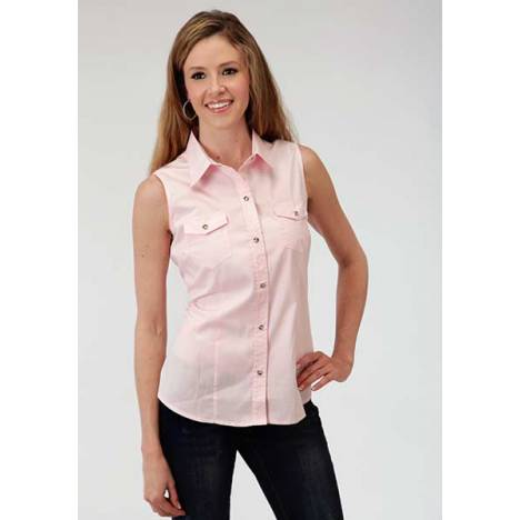 Roper Ladies Poplin Sleeveless Variegated Snap Shirt - Pink