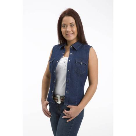 Roper Ladies Soda Ash Wash Sleeveless Denim Shirt