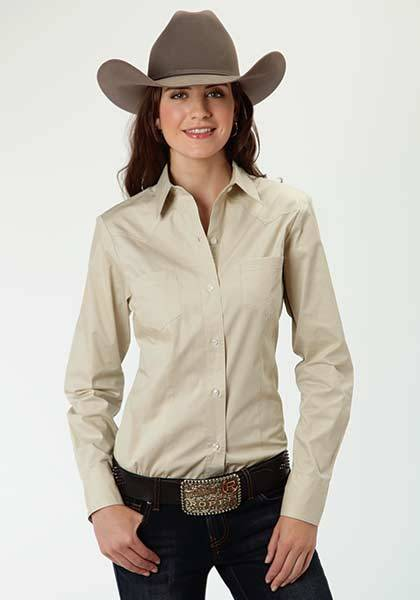 00ab6bc6 Roper Ladies Solid Poplin Long Sleeve Snap Shirt Stone