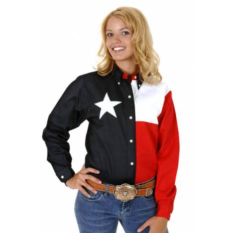 Roper Ladies Texas Pieced Flag Long Lseeve Snap Shirt