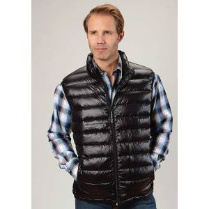 Roper Mens Lighweight Parachute Quilted Vest - Black