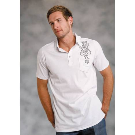 Roper Mens Screen Print Polo Shirt - White