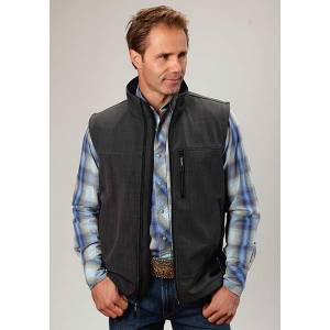 Roper Mens Technical Fleece Lined Textured Print Softshell Vest