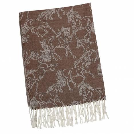 Kelley Ladies Linear Horse Pashmina Scarf