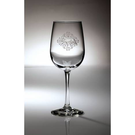 Kelley Dressage Floral Etched Wine Glass