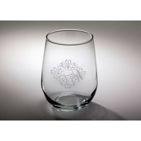Kelley Dressage Floral Etched Stemless Wine Glass