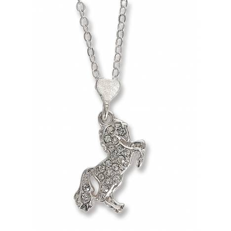 Kelley Pink Horse Box With Cz Rearing Horse Necklace