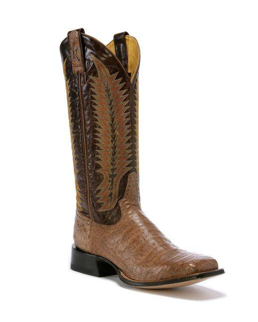 Rod Patrick RPM110 Caiman Soft Brown Square Toe Boots- Mens
