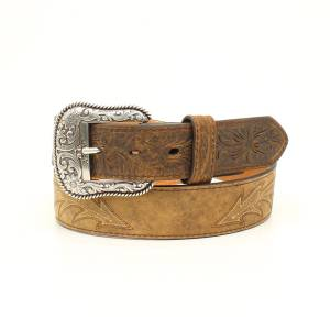 Ariat Mens 1 1/2 Scroll Stitched Distressed Western Belt