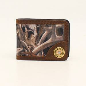 Ariat Mens Bifold Money Clip Bonz Camo Shotgun Shell Wallet