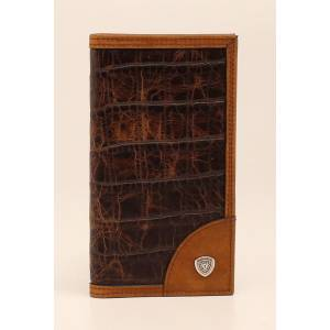 Ariat Mens Croco Rodeo Corner Shield Concho Wallet