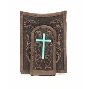 Ariat Mens Money Clip Center Cross Embossed Wallet