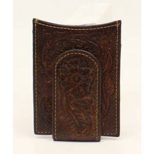Ariat Mens Money Clip Floral Embossed Wallet