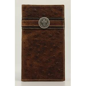 Ariat Mens Ostrich Rodeo Small Round Cross Concho Wallet