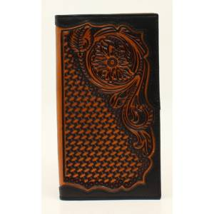 Ariat Mens Rodeo Basketweave Floral Emboss Wallet
