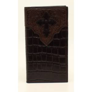 Ariat Mens Rodeo Croc Floral Embossed Cross Overlay Wallet