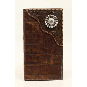 Ariat Mens Rodeo Croco Floral Embossed Overlay Large Concho Tab Wallet