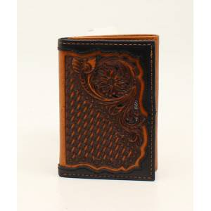 Ariat Mens Trifold Basketweave Floral Embossed Wallet