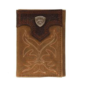 Ariat Mens Trifold Boot Stitch Design Logo Shield Tab Wallet