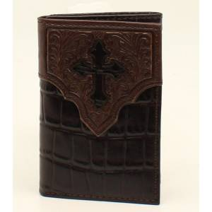 Ariat Mens Trifold Croc Floral Embossed Cross Overlay Wallet
