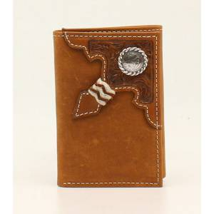 Ariat Mens Trifold Embossed Rawhide Knot Round Concho Tab Wallet