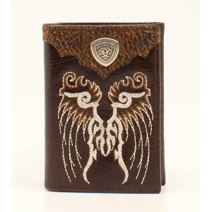 Ariat Mens Trifold Embroidered Design Shield Two Tone Wallet