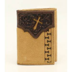 Ariat Mens Trifold Stitched Cross Embossed Tab Wallet