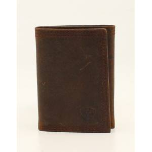 Ariat Mens Trifold Triple Stitched Corner Logo Wallet