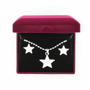 Blazin Roxx Engraved Star Necklace And Earrings Set