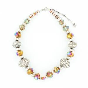 Blazin Roxx Large Engraved Silver Tone Beaded Necklace