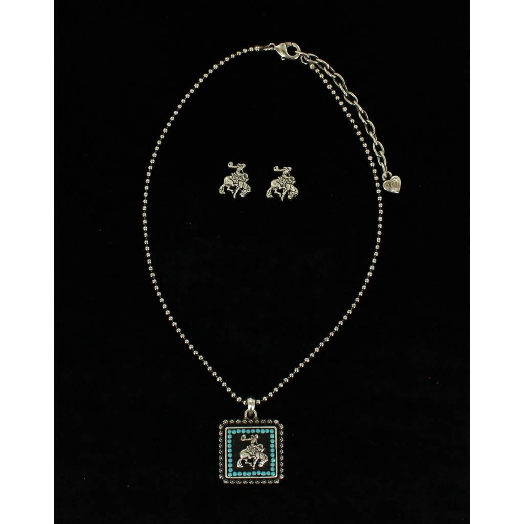 Blazin Roxx Vintage Saddle Bronc Necklace And Earrings Set